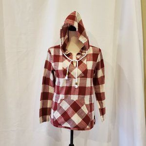 Lucky Red & White Large Check Hoodie Junior L